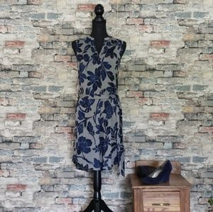NEW LOFT Blue Floral Sleeveless Midi Dress Small